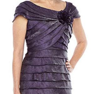 Dresses & Skirts - Tiered Short-Sleeve Sheath Dress, Eggplant, 14P